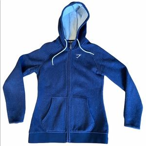 GYMSHARK Blue Hoodie Heavyweight Sweater with Zip Size Small GUC